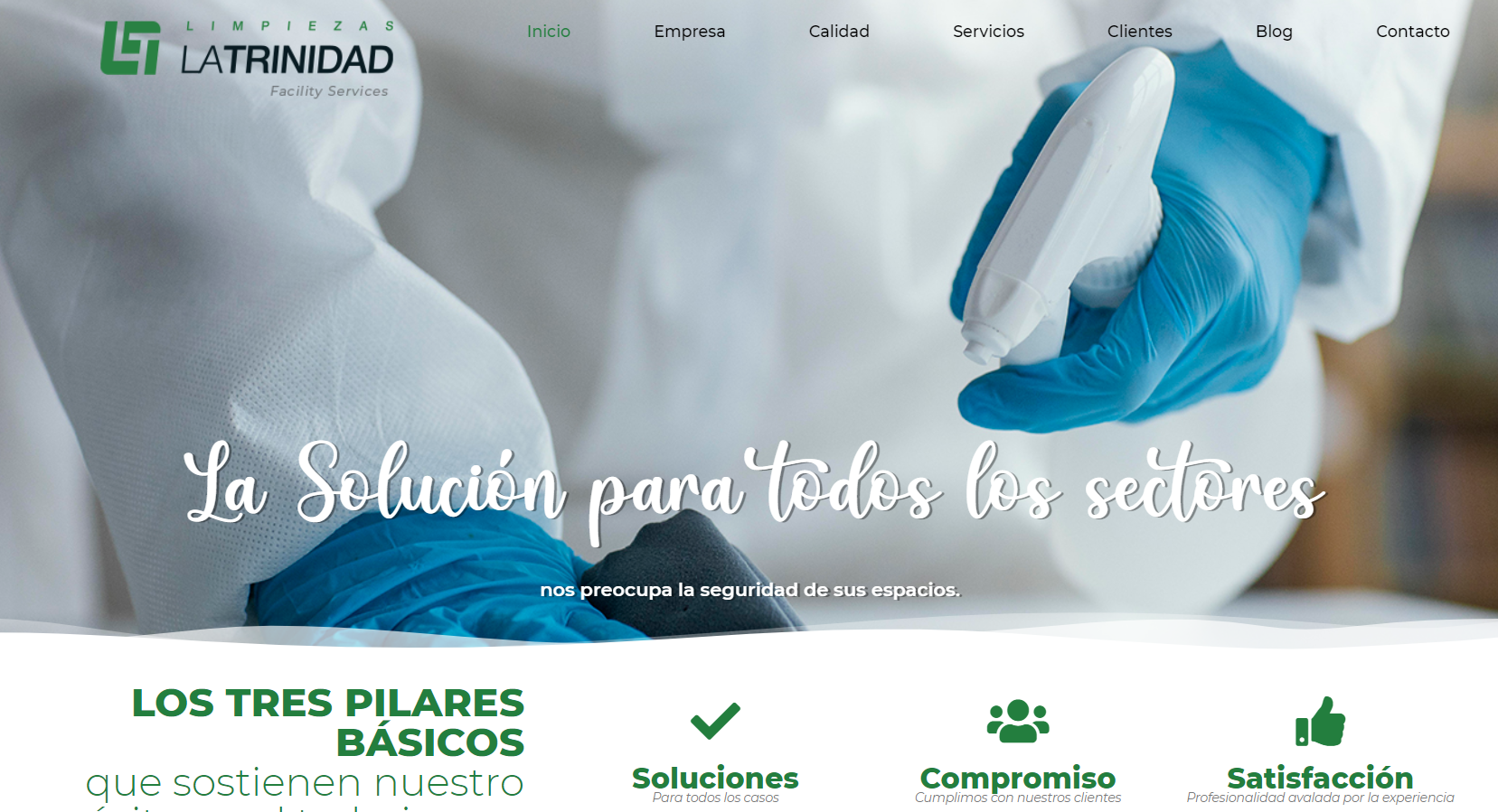 página web Limpiezas La Trinidad Inicio